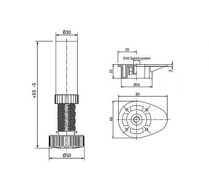 schemat nóżki meblowej trzyczęściowej regulowanej